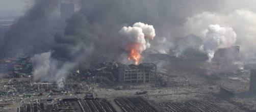 Un'immagine dell'esplosione a Tanjin