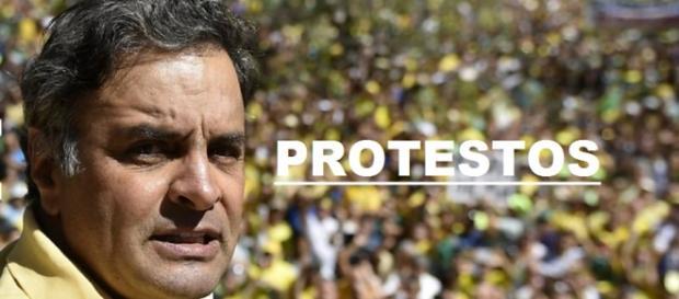 Aécio faz discurso contra Dilma