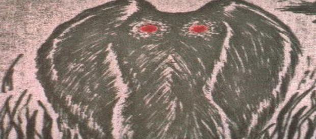 Rappresentazione di Mothman, l'uomo falena