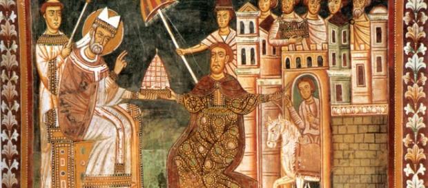 Vita di Costantino. Imperatore omaggia il Papa