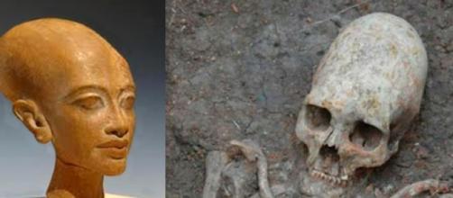 A la izquierda, Akenaton, y a la derecha el cráneo