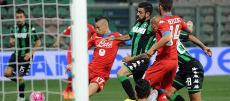 Il gol di Hamsik contro il Sassuolo