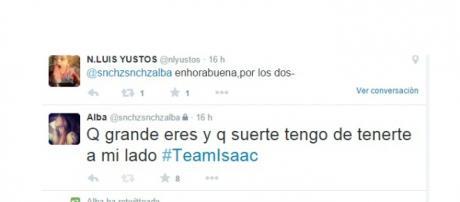 Twitter de Alba la novia de Isacc Pareja