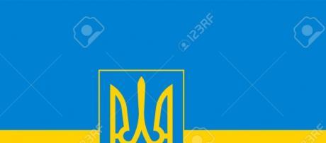 Bandera de Ucrania con escudo también incluido.