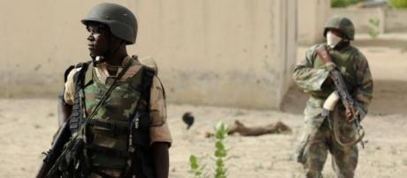 Des soldats nigériens, au Nord de l'Etat de Borno