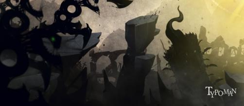 Typoman features a dark and unsettling environment
