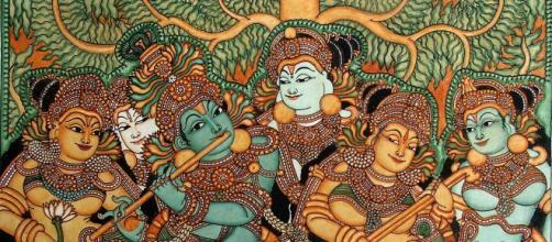 Krishna suona il flauto, pitture murali del Kerala