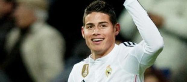 Celebración del gol de James Rodríguez