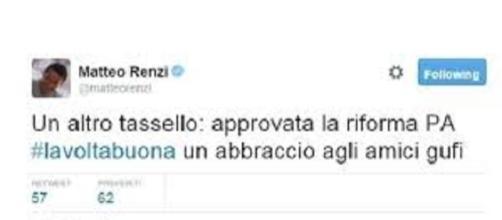 Il tweet di Renzi dopo approvazione riforma PA