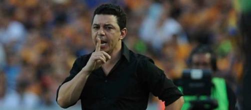 Marcelo Gallardo en el partido de ida en México.