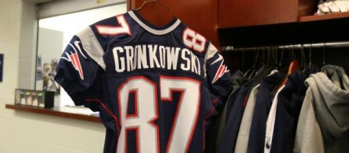 Rob Gronkowski's jersey hangs in the locker room.