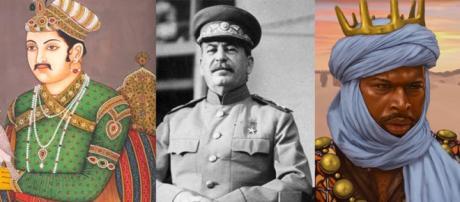 Akbar I, Joshep Stalin y Mansa Musa.