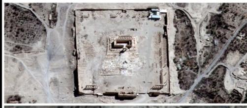 Vista aérea del templo de Bel en Palmira