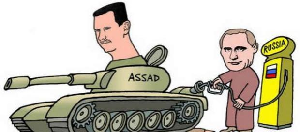 Caricatură ce sugerează implicarea Rusiei în Siria