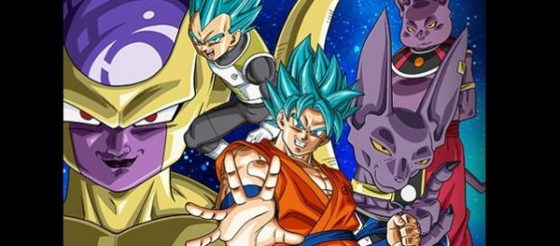 Freezer, Bills, Shampa, Vegeta y Goku