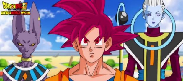 Goku recién transformado en super saiyajin Dios