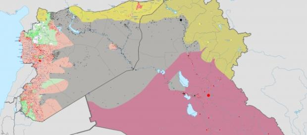 Mapa Państwa Islamskiego (kolor szary)