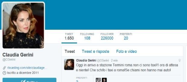 Il profilo twitter di Claudia Gerini