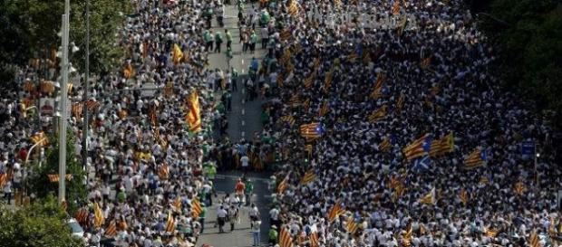 Vista de la inmensa cantidad de gente en la Diada.