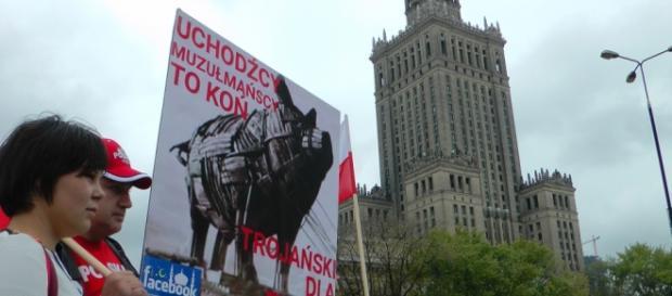 Manifestacja przeciwko przyjmowaniu uchodźców