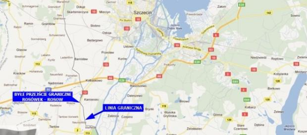 Mapa: granica niemiecko-polska blisko Szczecina.