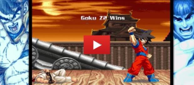 Goku en plena victoria a punto de ponerse anteojos