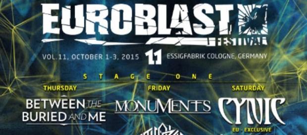 Cartaz do festival Euroblast, onde os Cynic tocam