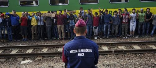 Refugiados sirios en Budapest, Hungría.