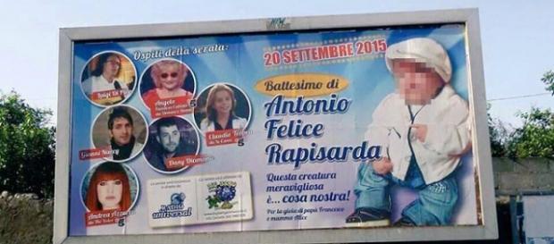 Manifesto annuncia battesimo figlio boss Rapisarda