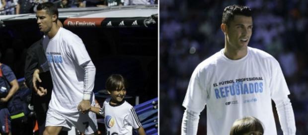 Ronaldo estece com a família síria.