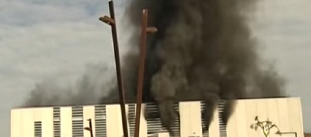 Imagen del momento del incendio en Almeria