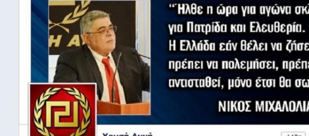 La pagina Facebook di Nikolaos Michaloliakos