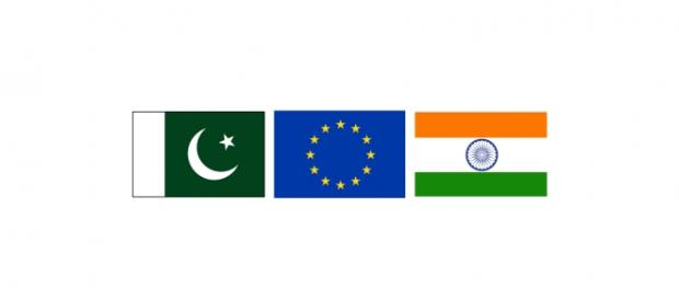 Pakistan, European Union and India flags