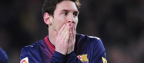 Messi deluso con maglia del Barcellona