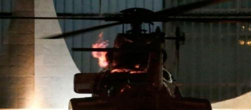 Helicóptero oficial pegou fogo