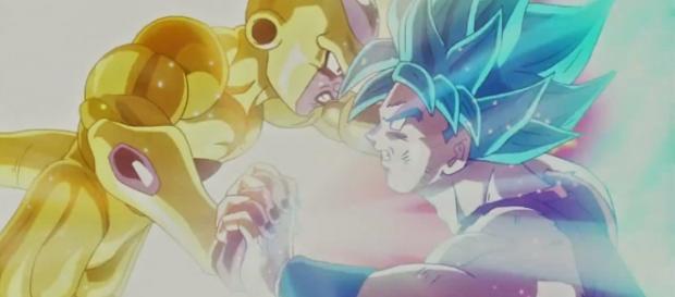 Goku y Freezer luchando en la pelicula