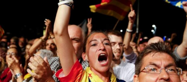 Celebraciones de los independentistas en Cataluña