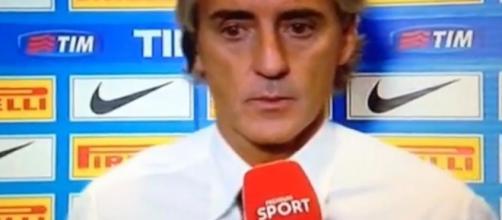 Mancini ieri sera durante il dopo-gara con Premium