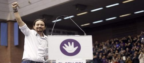 Pablo Iglesias en un acto de Podemos en Catalunya