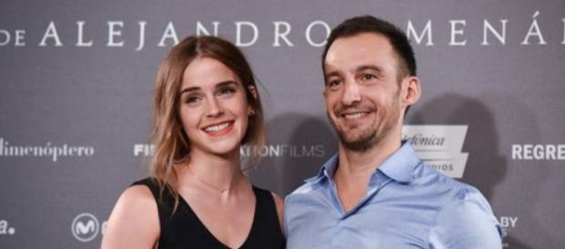 Alejandro Amenábar junto a Emma Watson