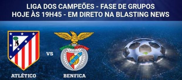 Atlético e Benfica jogam hoje na Liga dos Campeões