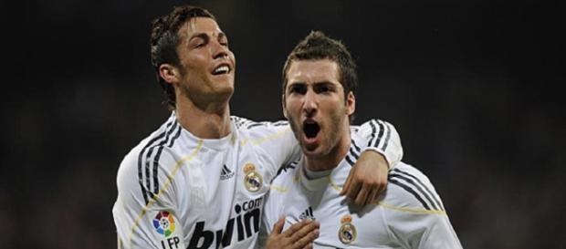 Ronaldo e Higuaín cuando coincidieron en el Madrid