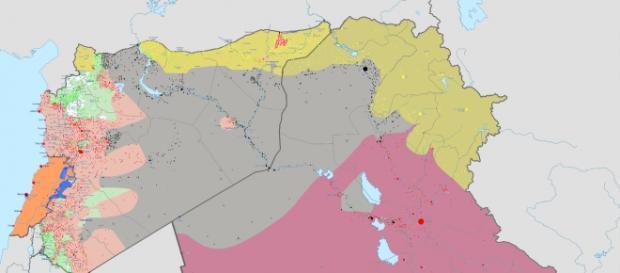 Terytorium ISIS z września 2015 (szary kolor)