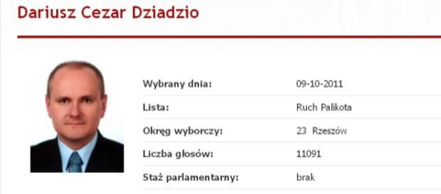 Poseł Dariusz Dziadzio / sejm.gov.pl (printscreen)