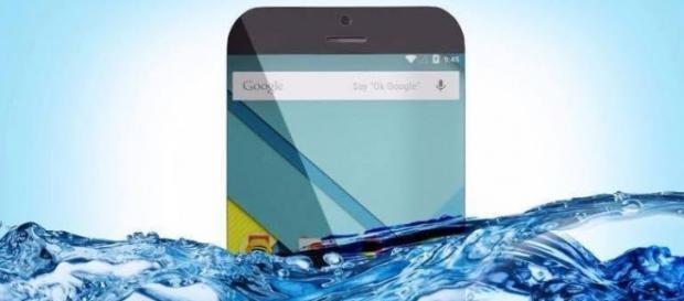 Smartphone Android que flutua.