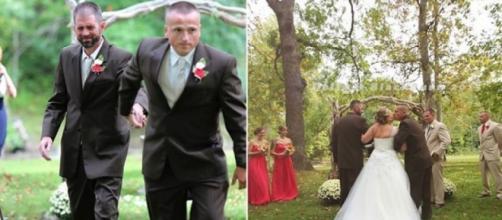 O pai da noiva a direita e o padrasto a esquerda.