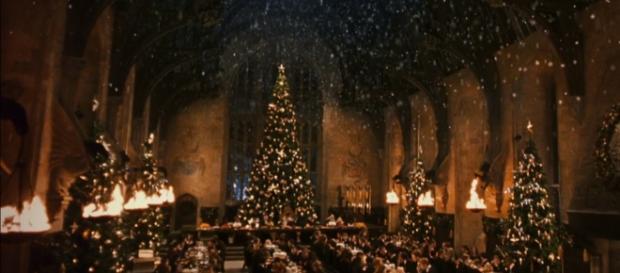Jantar natalino no grande salão de Hogwarts