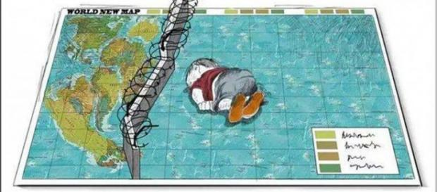Dibujo en Internet homenaje al niño Aylan Kurdi.