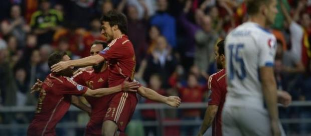 Spain celebrating their victory.