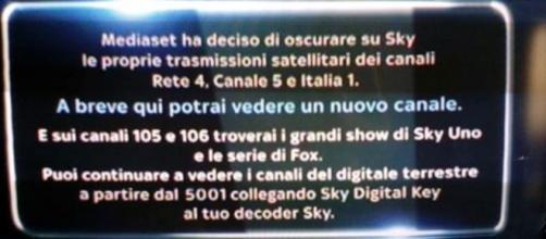Messaggio Sky Italia per gli abbonati